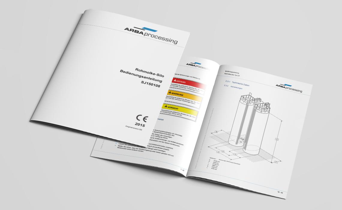Projekte, ARBA processing – Bedienungsanleitung Rohmolkesilo – 2015