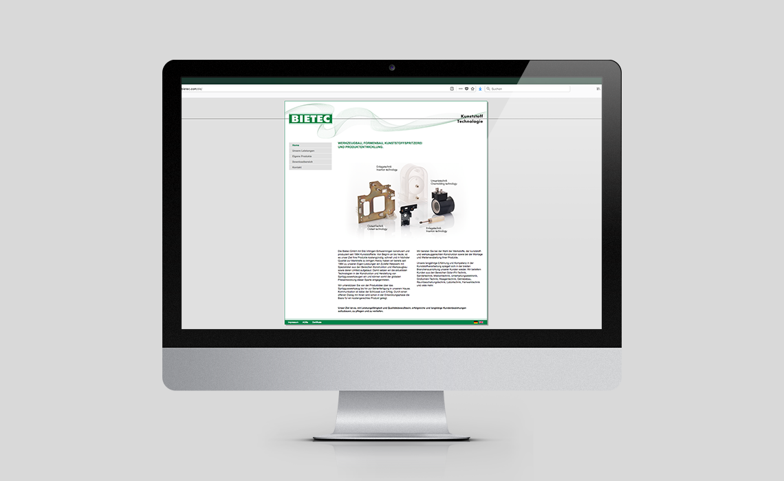 Bietec GmbH – Website – Werkzeugbau, Formenbau, Kunststoffspritzerei und Produktentwicklung. – 2012