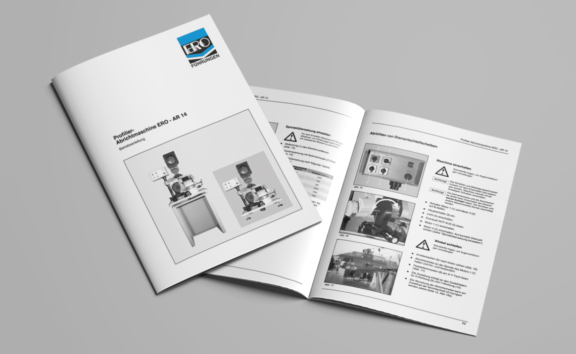 ERO Führungen GmbH – Betriebsanleitung Abrichtmaschine AR14 – 1997